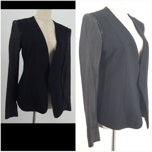 Theory Small Black Open Blazer Leather